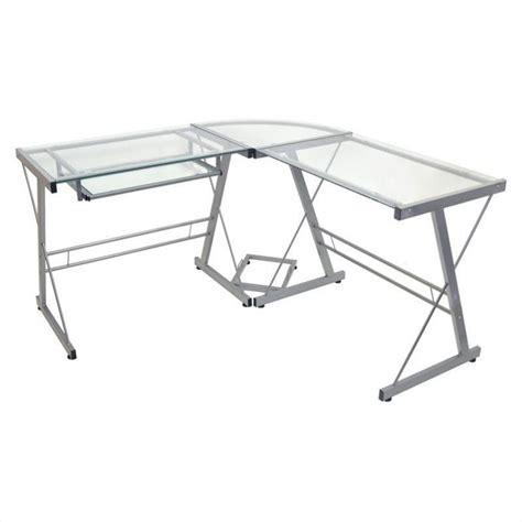 glass top computer desk walker edison l shaped glass top computer desk in silver