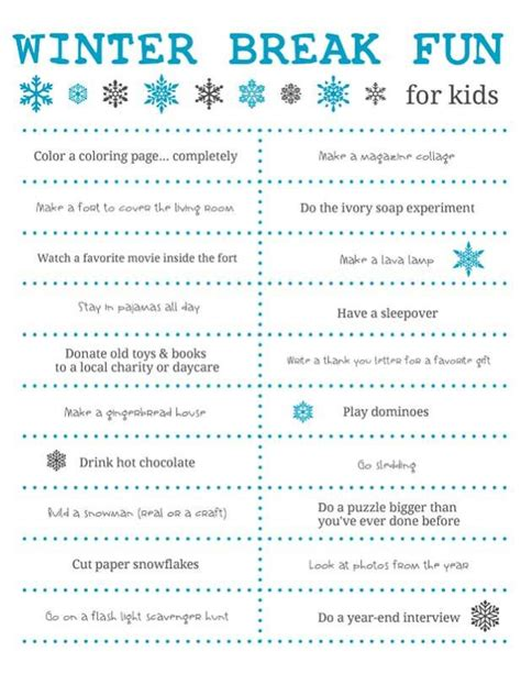 sheets of tin things to do winter for free printable