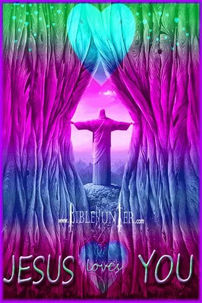 Jesus Loves Animated Heart Pastel Teardrop Trippy