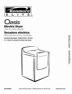 Kenmore Clothes Dryer 110 6703 User Guide