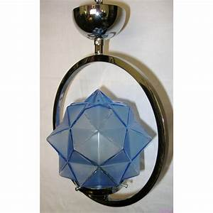 Vintage deco english chrome ring ceiling fixture with blue