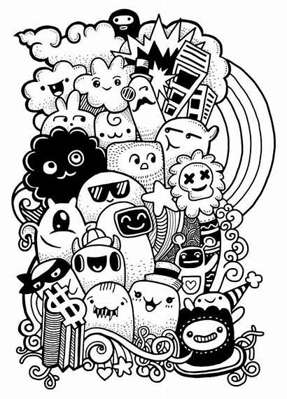 Doodle Monster Crazy Drawing Hipster Drawn Doodles