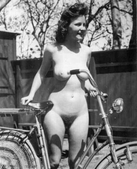 Vintage Chick From S Is Naked With The Bike