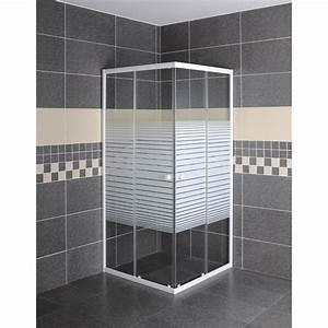 porte de douche coulissante angle carre l80 x l80 cm With porte de douche coulissante avec rayon salle de bain