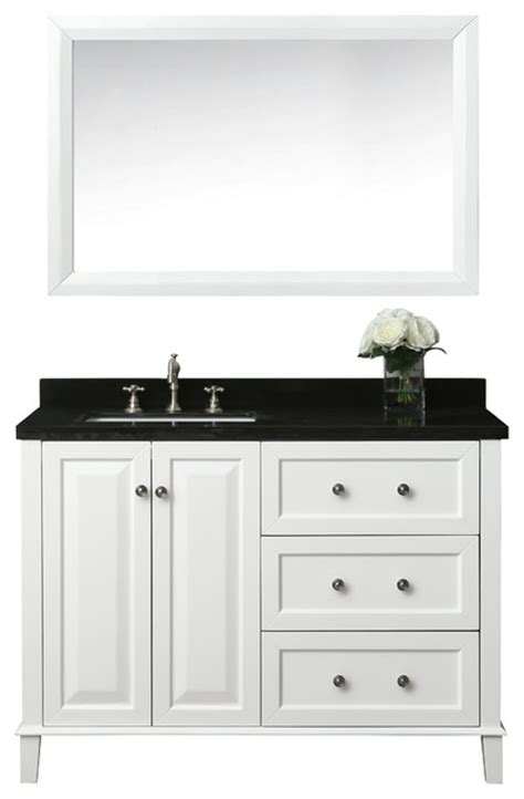 48 inch bathroom vanity right side sink hannah 48 quot off centered left basin vanity set with mirror