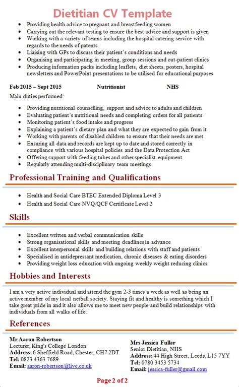 Dietitian Resume Term Care by Dietitian Cv Template 2