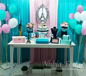 Nubia Festas - Decoração Paris (Azul Tiffany e Rosa)