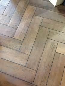 Herringbone Wood Tile Floor Bathroom
