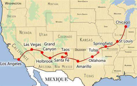 Carte Usa Villes Route 66 by Road Trip 66 Ulule