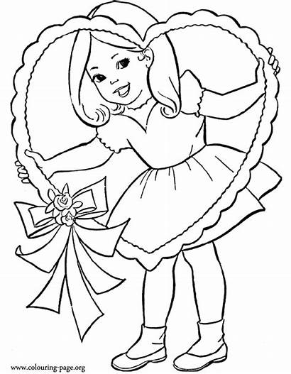 Coloring Heart Valentine Valentines Colouring Pages Holding