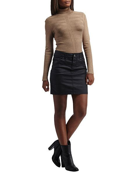 morgan coated denim mini skirt black house  fraser