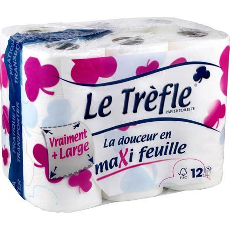 papier toilette maxi feuille le trefle le paquet de 12 rouleaux shoptimise