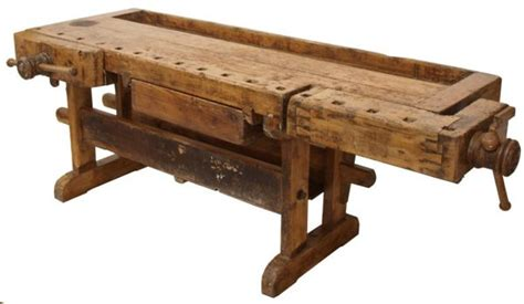 antique rustic french mixed wood work bench