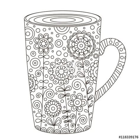 Coloring pages for adults book. Cup of coffee with floral doodle coloring page for adult | Coffee art printable, Coffee vector ...