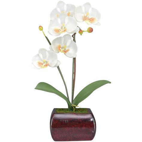ดอกไม้ปลอมแต่งบ้าน ดอกกล้วยไม้ phalaenopsis จัดในกระถางเซรามิคสไตล์คลาสสิค วางประดับตกแต่งเพื่อ ...