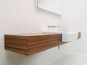 Meuble de salle de bain en bois avec vasque integree for Meuble de salle de bain vasque intégrée
