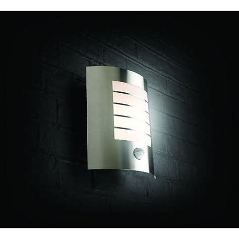 wickes oslo chrome wall light with pir 60w wickes co uk