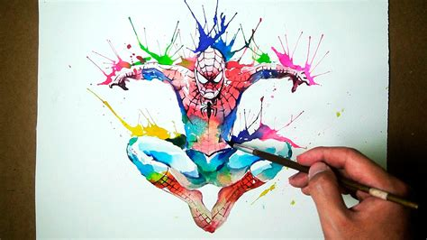 marvel spider man watercolor blowing technique jayart