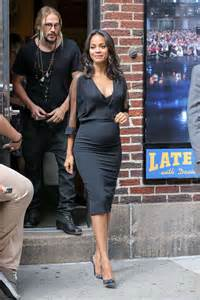 Zoe Saldana pregnant photos: Ring the Opening Bell at the ...