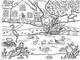 Coloring Pond Colouring sketch template
