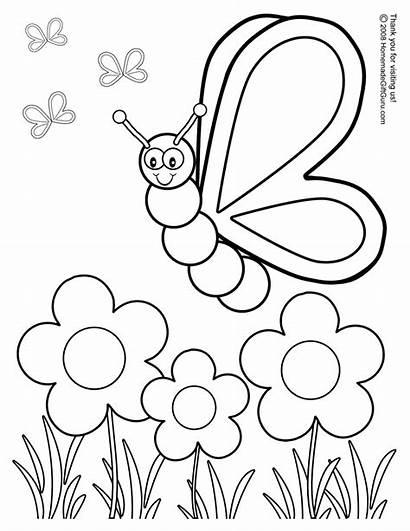 Spring Coloring Nature Season Pages Printable Sheets