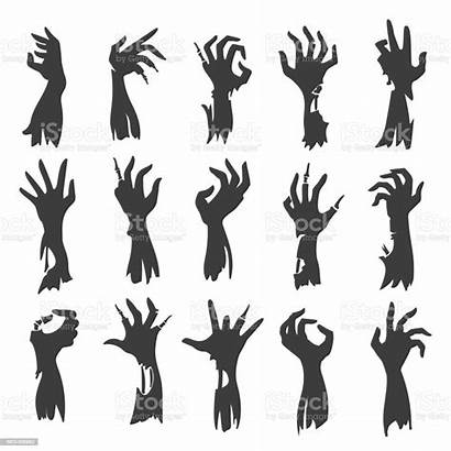 Zombie Hand Vector Silhouettes Undead Hands Creepy