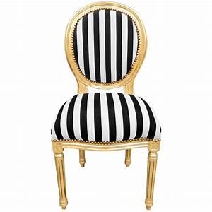 Chaise Tissu Noir : chaise de style louis xvi tissu ray noir et blanc et bois ~ Teatrodelosmanantiales.com Idées de Décoration