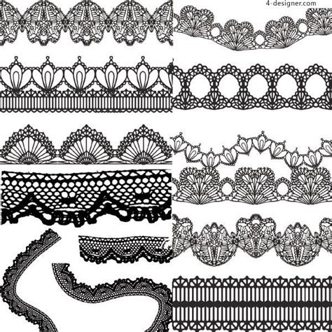 variety  practical black  white lace vector material