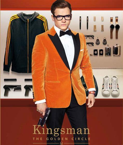 kingsman the golden circle eggsy orange tuxedo jacket suit