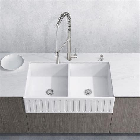 vigo matte stone farmhouse kitchen sink vigo all in one farmhouse matte stone 36 in double basin