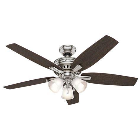 hunter fan ceiling fan light kit hunter newsome 52 in indoor brushed nickel ceiling fan