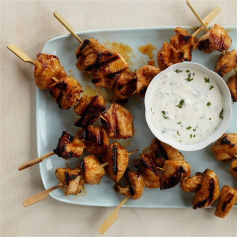 red curry chicken kebabs  minty yogurt sauce recipe kerry simon food wine