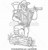 Lumberjack Holding Coloring Axe Brutal Strong Cartoon Woodsman Vectors Drawing Bigstock sketch template