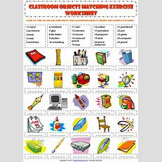 Classroom Objects Supplies Vocabulary Matching Exercise