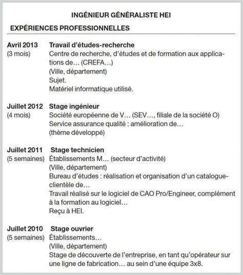 Comment Présenter Un Cv Exemple by Comment Pr 233 Senter Vos Stages Sur Votre Cv L Etudiant