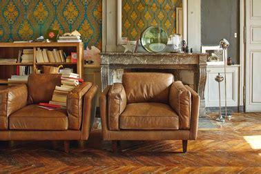 peinture pour fauteuil cuir deco salon vintage fauteuil cuir vachette alinea