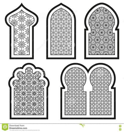 white arabesque or islamic windows set stock vector illustration