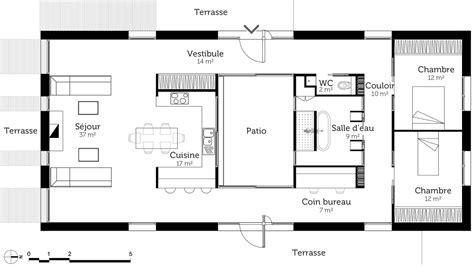 plan plain pied 2 chambres plan maison rectangulaire 2 chambres et terrasses plans