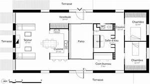 plan maison rectangulaire 2 chambres et terrasses plans With plan maison plain pied 3 chambres terrasse