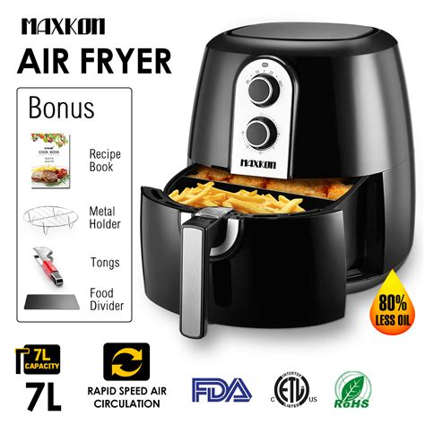 fryer air temperature basket xl maxkon qt capacity electric walmart 1800w oil food less holder control metal divider tongs kitchen