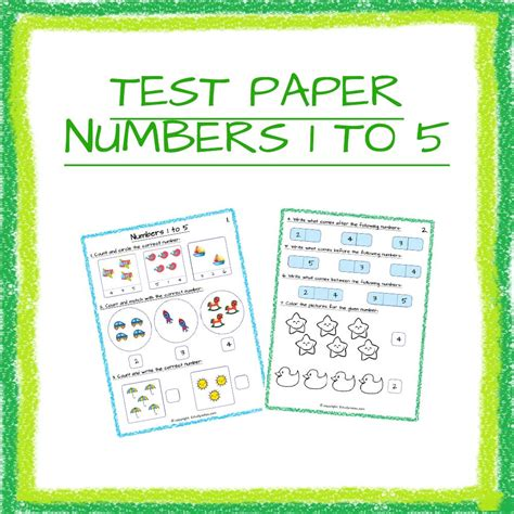 maths test paper numbers 1 to 5 nursery and kindergarten 1 951 | 1843 Maths Test Paper Numbers 1 to 5 Nursery and Kindergarten 1 CXKC00000000 34012019