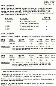 1984 Corvette  Recall  Product Safety Campaign 84c25 Rear Axle Differential Cross Shaft