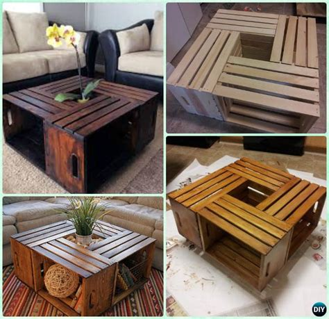 You can use wooden crates to make your coffee table into many configurations, the config i chose will make a rectangle crate coffee table, with a bonus of storage this diy create coffee table was the catalyst that inspired me to redo my patio with new decor. DIY Wood Crate Coffee Table Free Plans Picture Instructions