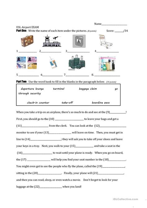 airport vocabulary exam worksheet  esl printable