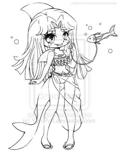 shark girl lineart commission  yampuff deviantartcom