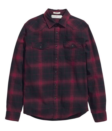 lyst hm checked flannel shirt  red  men