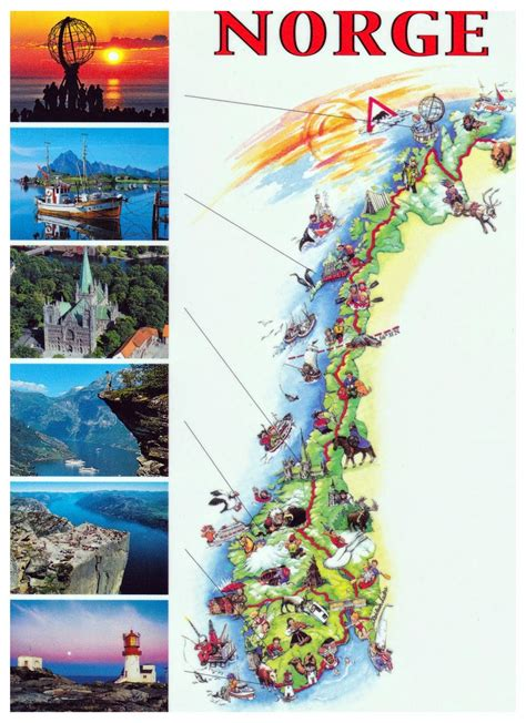 detailed tourist illustrated map  norway norway