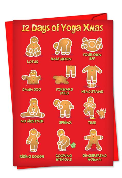 yoga xmas cartoon christmas card  daniel collins