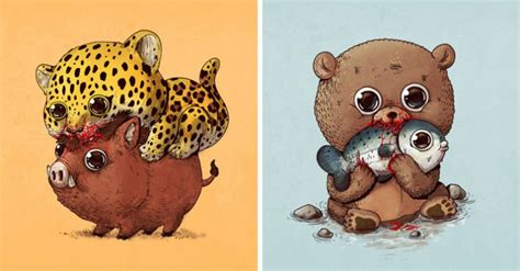 artist depicts  circle  life  cute  disturbing