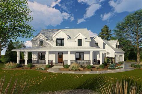 open floor plans ranch homes modern farmhouse with angled 3 car garage 62668dj modern